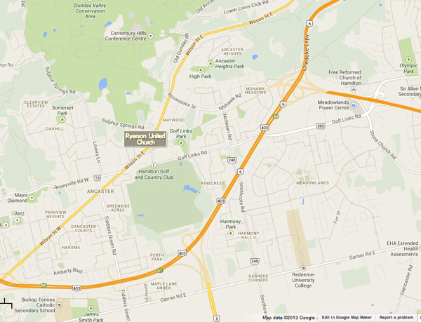 Ryerson Ancaster Map